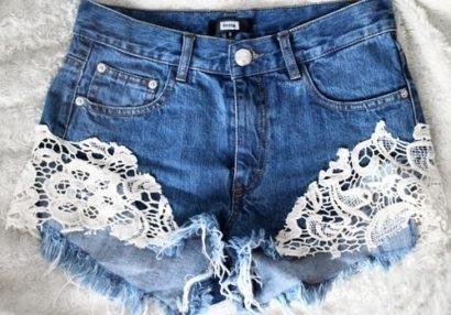 shorts customizado com renda na barra