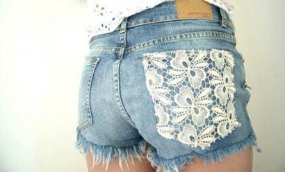 shorts customizado com renda no bolso