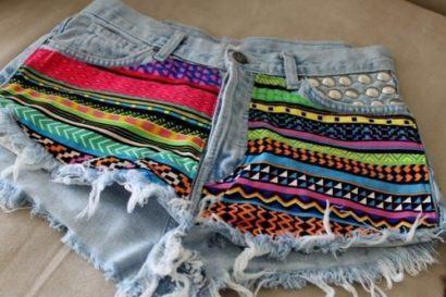 shorts jeans com estampa etnica
