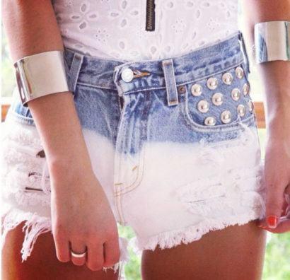 tachinhas acima do bolso shorts customizados