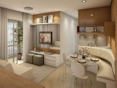 Apartamentos pequenos decorados a sala a cozinha e - Como decorar un apartamento pequeno ...