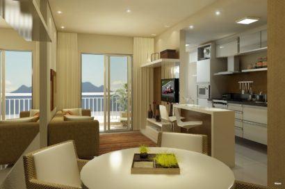 apartamentos pequenos decorados cozinha com a sala 410x272 Apartamentos pequenos decorados, A sala, A cozinha e Quarto