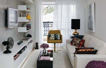 apartamentos pequenos decorados na cor branca 410x263 Apartamentos pequenos decorados, A sala, A cozinha e Quarto