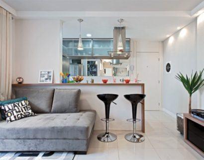apartamentos pequenos decorados sala e cozinha 410x321 Apartamentos pequenos decorados, A sala, A cozinha e Quarto