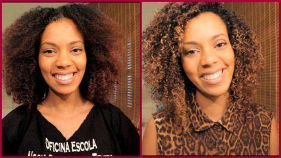 cabelos crespos com luzes antes e depois