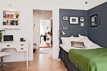 fotos de quartos para apartamentos pequenos 410x273 Apartamentos pequenos decorados, A sala, A cozinha e Quarto