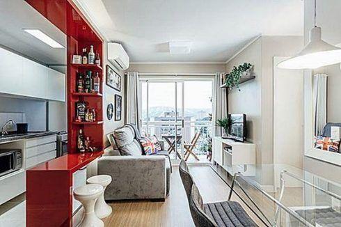 imagem 2 1 490x326 Apartamentos pequenos decorados, A sala, A cozinha e Quarto
