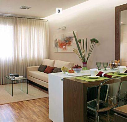 Apartamentos pequenos decorados a sala a cozinha e for Apartamentos modernos decorados