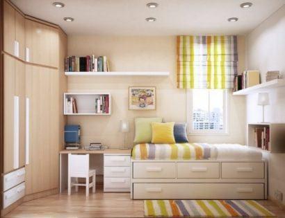 moveis planejados e quartos para apartamentos pequenos 410x315 Apartamentos pequenos decorados, A sala, A cozinha e Quarto