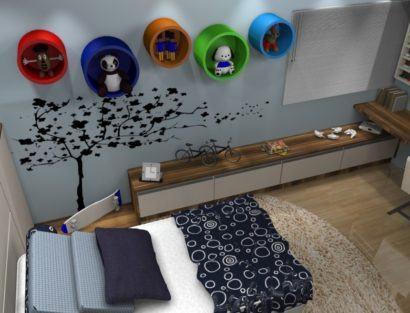 nichos coloridos para decoracao 410x313 NICHOS PARA QUARTO DE SOLTEIRO para decoração : Ela e ele