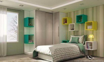 nichos de quarto de menino cores 410x246 NICHOS PARA QUARTO DE SOLTEIRO para decoração : Ela e ele