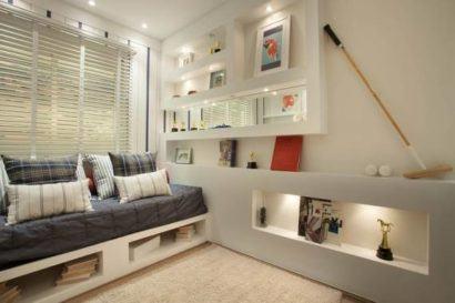 nichos de quarto de solteiro brancas 410x273 NICHOS PARA QUARTO DE SOLTEIRO para decoração : Ela e ele