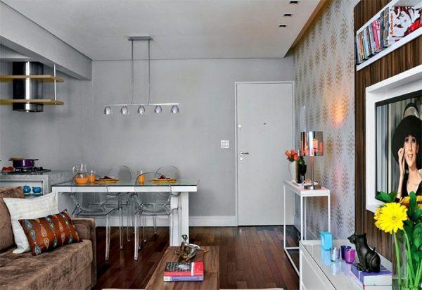 Apartamentos pequenos decorados, A sala, A cozinha e Quarto