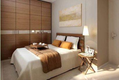 quarto casal para apartamentos pequenos 410x278 Apartamentos pequenos decorados, A sala, A cozinha e Quarto