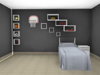 quarto menino com nichos decorativos 410x308 NICHOS PARA QUARTO DE SOLTEIRO para decoração : Ela e ele