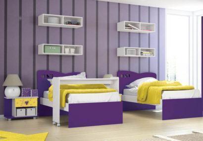 quarto para irmaos com nicho na parede 410x285 NICHOS PARA QUARTO DE SOLTEIRO para decoração : Ela e ele