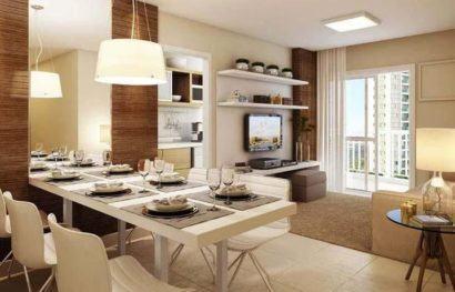 Apartamentos pequenos decorados a sala a cozinha e for Mesas para apartamentos pequenos