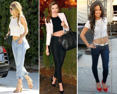 top cropped com calca jeans