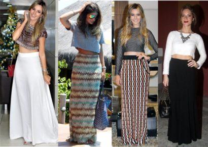 top cropped com saia longa 410x291 Como usar top cropped com saia, calça e shorts (30 looks da moda)