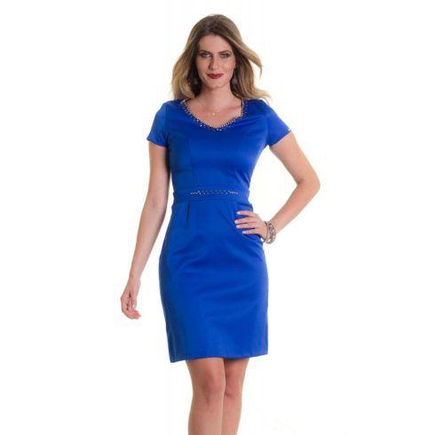 vestido azul tubinho com manga 490x490 Modelitos de VESTIDOS TUBINHO COM MANGA super elegantes