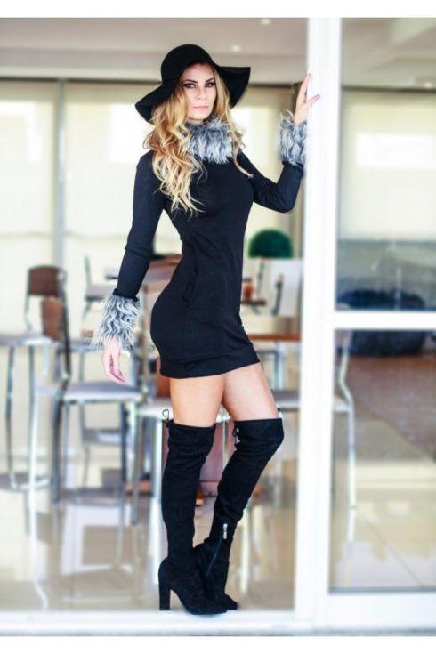 vestido curto tubinho manga longa 490x735 Modelitos de VESTIDOS TUBINHO COM MANGA super elegantes