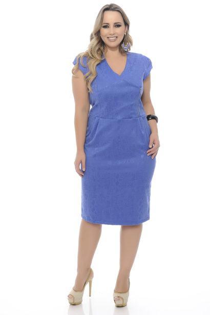 vestido tubinho com manga azul 410x615 Modelitos de VESTIDOS TUBINHO COM MANGA super elegantes