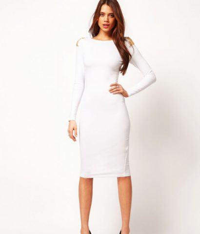 vestido tubinho com manga longa branco de festa 410x480 Modelitos de VESTIDOS TUBINHO COM MANGA super elegantes