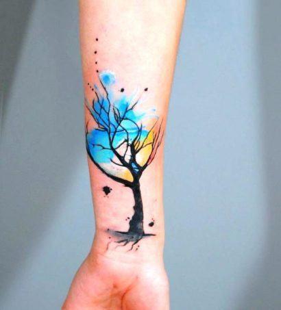 arvore no bra%C3%A7o tattoo feminina 410x453 Especial TATTOOs FEMININAS LEGAIS desenhos lindos