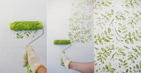 como pintar uma parede com efeito carimbo