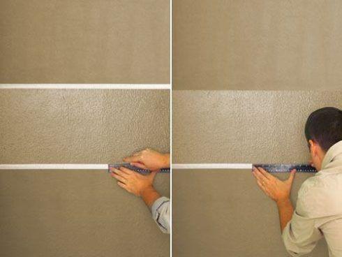 como pintar uma parede usando uma régua para os efeitos