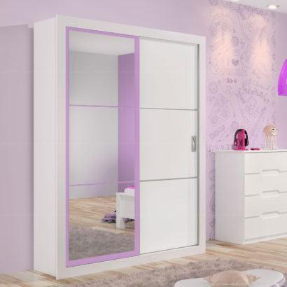 guarda roupa branco e lilas com espelho e porta de correr 410x410 Guarda roupa com PORTA DE CORRER amplia os espaços