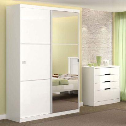 guarda roupa com espelho e 2 portas de correr 410x410 Guarda roupa com PORTA DE CORRER amplia os espaços