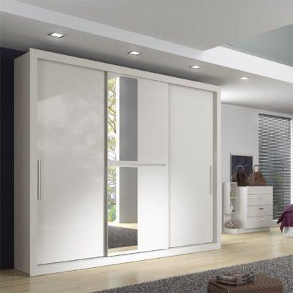 guarda roupa com porta de correr branco com espelho 410x410 Guarda roupa com PORTA DE CORRER amplia os espaços