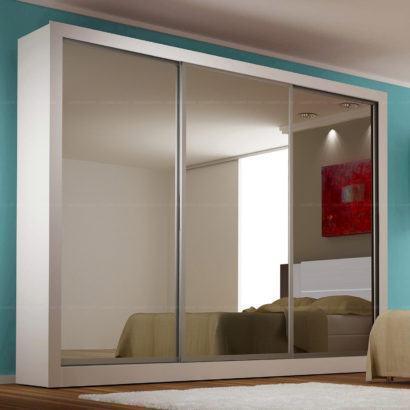 guarda roupa todo espelhado e porta de correr 410x410 Guarda roupa com PORTA DE CORRER amplia os espaços