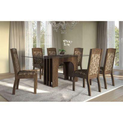 mesa de jantar de madeira e vidro