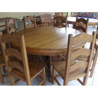 mesa de jantar de madeira redonda