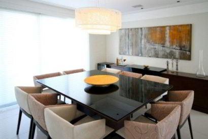 mesa de jantar moderna em vidro e mármore