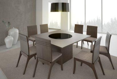 mesa de jantar quadrada com oito cadeiras