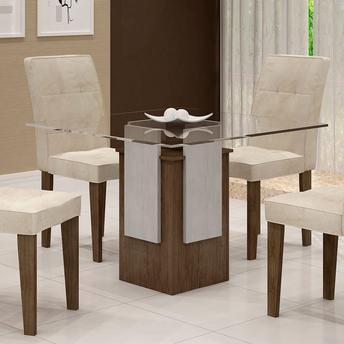 mesa de jantar quadrada com quatro cadeiras