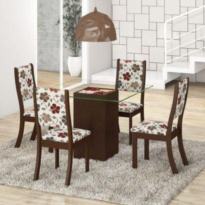 mesa de jantar quatro cadeiras estampadas
