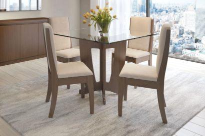 mesa de jantar quatro cadeiras quadrada