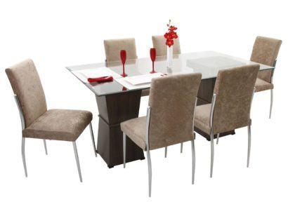 mesa de jantar seis lugares com cadeiras claras