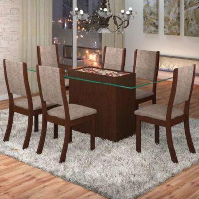 mesa de jantar seis lugares de vidro