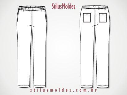 molde cal%C3%A7a moletom feminina com el%C3%A1stico 410x307 Molde calca moletom feminina para corte e costura