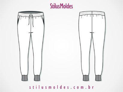 molde cal%C3%A7a moletom feminina saruel skinny 410x308 Molde calca moletom feminina para corte e costura