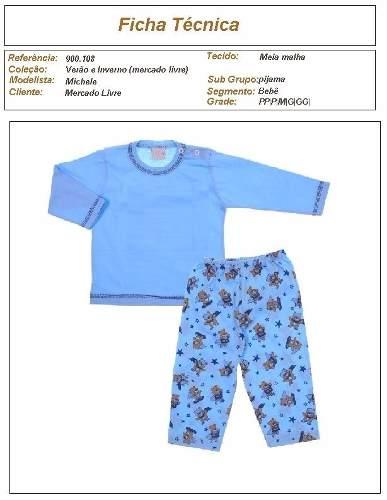 molde de pijama de moletom infantil para meninos