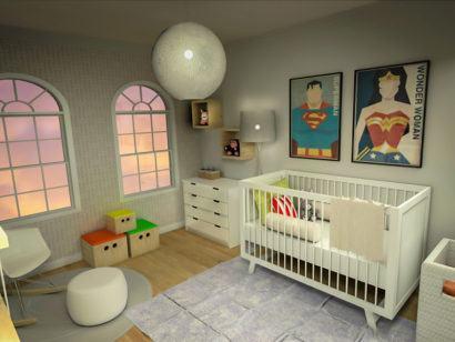 quartos de bebês decoração moderna com quadros de super heróis