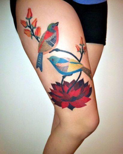 tatuagem grande na coxa feminina 410x513 Especial TATTOOs FEMININAS LEGAIS desenhos lindos