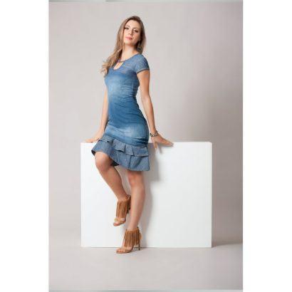 vestido jeans com babado moda evangelica 410x410 Vestidos jeans evangélicos belos e perfeitos