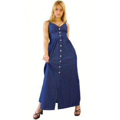 vestido jeans longo decotado evangelico 410x410 Vestidos jeans evangélicos belos e perfeitos